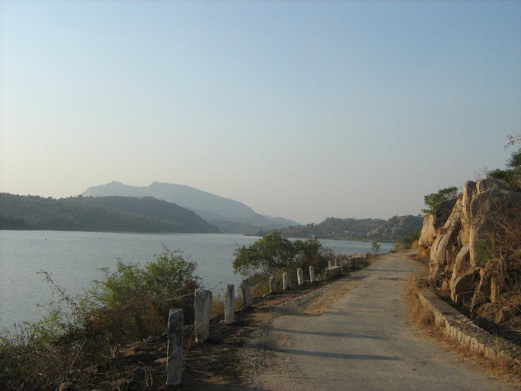 Beautiful road beside the dam