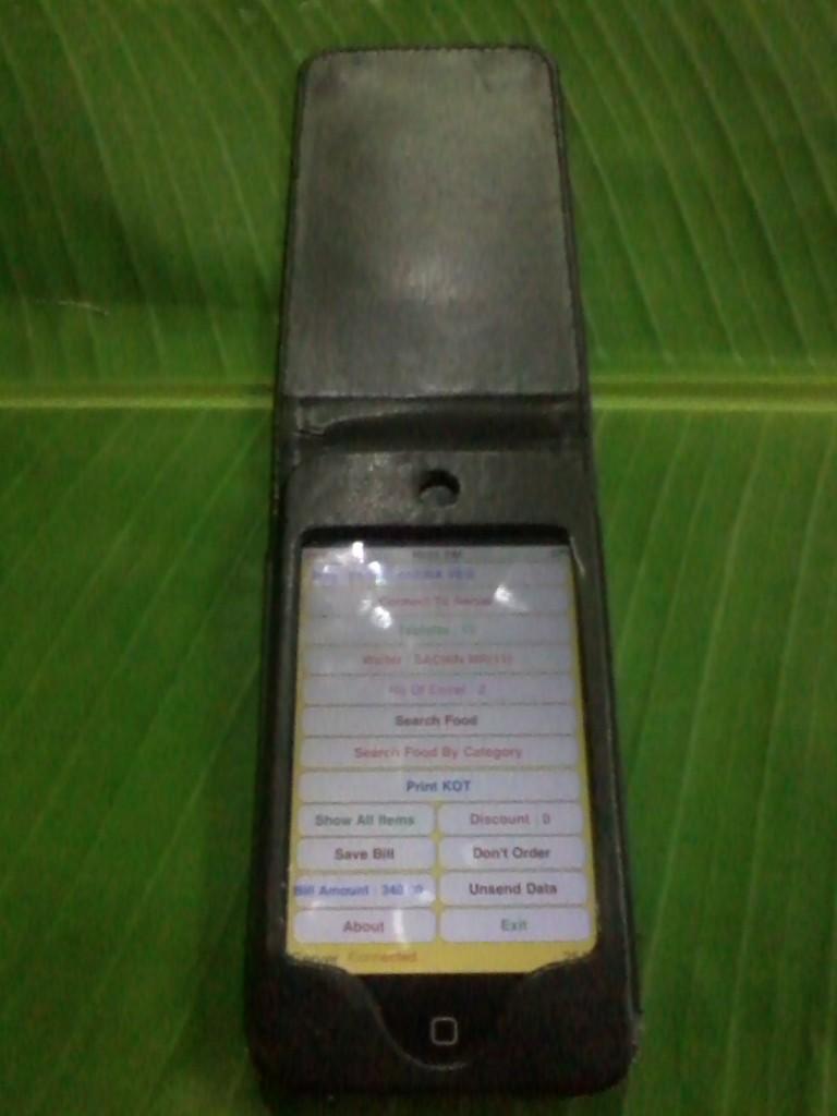 iPhone on the banane leaf