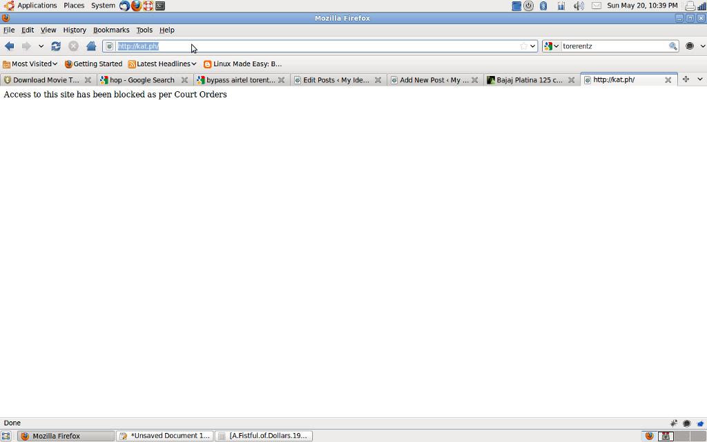 Airtel blocking torrent kickasstorrent site